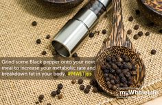 Black pepper is highest in a #thermogenic agent called #piperine (the flavour compound). Piperine increases the breakdown of fat in the body while slightly increasing your metabolic rate, and improves the bioavailability of other herbs and spices. And when you combine #Blackpepper with #Turmeric it increases the absorption of this anti-inflammatory powerhouse. #MWLtips
