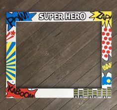 SUPER HERO Birthday Photobooth - Superhero Photo Booth Frame - Birthday Photobooth Frame Prop - ADD YOUR CUSTOM WORDING