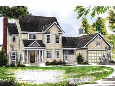 Eplans Colonial House Plan - Great for the Growing Family - 1748 Square Feet and 3 Bedrooms from Eplans - House Plan Code HWEPL07369