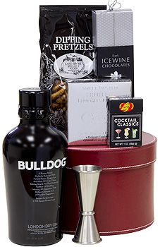 The Bulldog Gift Basket: Bulldog Gin in a leather-like container along with assorted snacks, chocolate and a jigger, $139.00