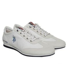 ac163e65a779 U.S. POLO White Leather Suede Men s Sneakers with Laces. Ανδρικά χαμηλά  λευκά δερμάτινα