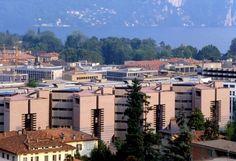 Banca del Gottardo by Mario Botta, Lugano, Svizzera, 1984-1988. Photo Pino Musi