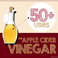 50+ Uses For Apple Cider Vinegar--You won't believe all the benefits in this little glass bottle! #applecidervinegar