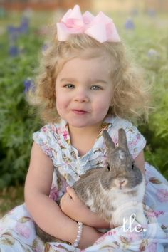 Babies, bunnies and bluebonnets! What could be cuter? Easter picture idea, real bunny picture, Laura Ashley dress, toddler picture idea for Easter, easter picture kids