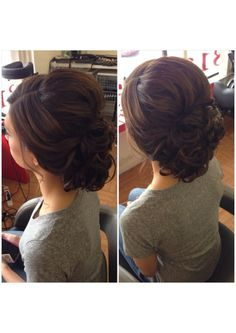 Curly bun low curly bun updo bridal hair wedding hair prom hair bridesmaid hair homecoming hair short hair updo summer wedding hair beautybyverlin by tarrbaby Homecoming Hairstyles, Formal Hairstyles, Bride Hairstyles, Pretty Hairstyles, Prom Updo, Pageant Hair Updo, Bridesmaids Hairstyles, Summer Wedding Hairstyles, Curled Updo Hairstyles