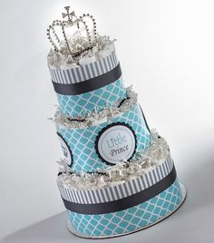 """The """"Little Prince"""" Diaper Cake with Crown. Baby Shower Centerpiece or Gift. on Etsy, $80.00"""
