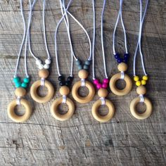 Natural Wood Bead and Silicone Teething Necklace for Mom/ Nursing Necklace / Babywearing Necklace | Chewelry