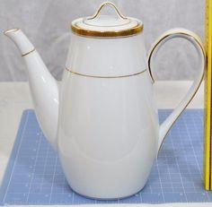 "Noritake Pompeii CoffeePot #6678 Wide Gold Rim-Japan- 8.5""Tall, 9""Spout-Handle #Noritake"
