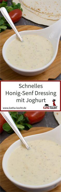 Mein schnelles Honig-Senf Dressing mit Joghurt passt nicht nur wunderbar zu Wraps, sondern auch zu leckeren Salaten. Außerdem ist es ein wahres Blitzrezept - in nur 1-2 Minuten ist das Dressing angerührt. Das Rezept gibt es auf katha-kocht!