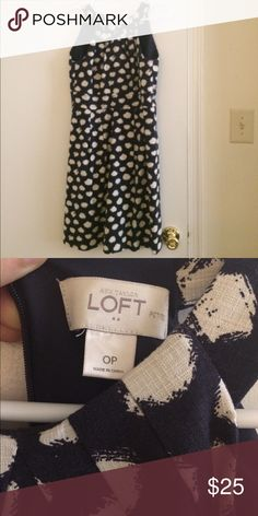 Loft polka dot dress Navy and white size 0p LOFT Dresses