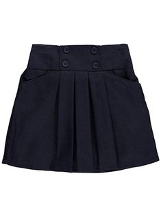 beb5498c2 Amazon.com: Nautica Big Girls' 4-Button Pleated Scooter Skirt - Navy
