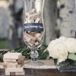 Jenga blocks as table centerpieces during the #wedding #reception so people can play as they keep drinking.