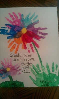 Hand Prints Arranged To Look Like A Flower Grandparent Gifts From Us This Year Birthday