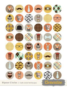 DOLLAR SALE - Hipster bottle cap images, bottlecap images, one inch circles, royalty-free, digital collage sheet- Instant Download