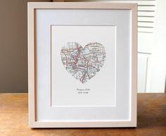 Niagara Falls, New York - Heart Map Print