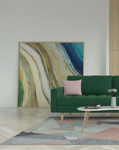 Green and pink living room decor ideas. Browse more living room decor ideas at roomdsign.com Sage Green Rug, Green Sofa, Yellow Rug, White Rug, Pink Rug, Living Room Green, Living Room Decor, Living Room Stands, Green Furniture