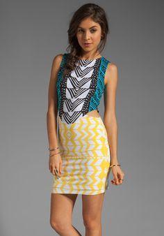 Mara Hoffman Cut Out Mini Dress in Luau Black/Yellow