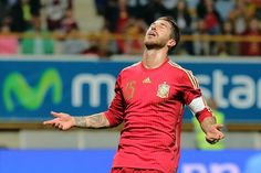 Spain's defender Sergio Ramos reacts during the friendly football match Spain vs Costa Rica at the Reino de Leon stadium in Leon, on June 11, 2015.