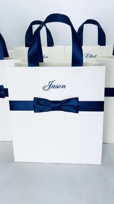 Groomsmen Gift bag with name - Wedding Party Favor Bag with Blue male satin bow - Elegant Personalized the men's bag with bow tie Destination Wedding Welcome Bag, Wedding Welcome Bags, Wedding Bag, Wedding Favor Boxes, Wedding Favors For Guests, Wedding Gifts, Groomsmen Gift Bags, Bridesmaids And Groomsmen, Groomsman Gifts