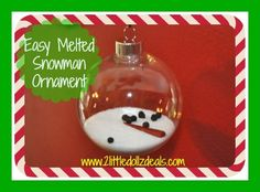 Easy Melted Snowman Christmas Ornament Easy  #DIY Craft This is adorable and fun to make and give as a gift! #Snowman #Christmas  Check it out here --> http://www.2littledollzdeals.com/?p=11962
