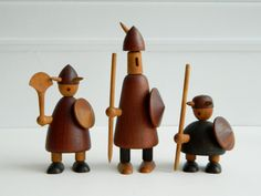 Vintage Jacob Jensen Teak and Ebony Wood Viking Figures Denmark Souvenir