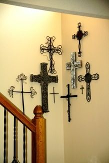 Recently Moved My Cross Collection To A Corner At The Base Of Our Staircase Love