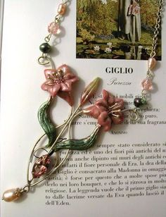 Gorgeous polymer clay flower necklace