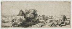 Landscape with a Fisherman (Outersdorp) - Rembrandt van Rijn. Etching and drypoint on paper. x cm. Rembrandt Etchings, Rembrandt Drawings, Landscape Drawings, Landscape Prints, Art Google, Printmaking, Illustrators, Sketches, Morgan Library