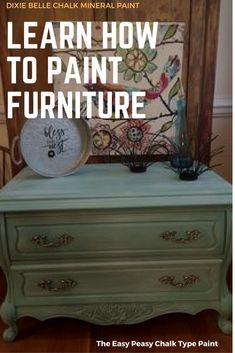 No SANDING, no PRIMING, no WAXING. Click here to go to our website and LEARN how to use our paint. You will never want to buy any other chalk paint.April Vaughan McKee painted this piece in The Gulf and white-washed in Fluff. #dixiebellepaint #bestpainton