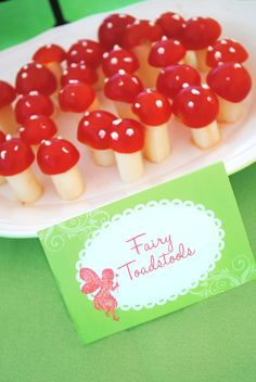 The Menu: Fairy Toadstools Sandwich Snails Enchanted Garden Salad Gnome-made Granola Fairy Berries Pixie Punch Garden Veggies  RECIPES Fairy Toadstools Ingredients: Mozzarella Cheese Sticks Cherry Tomatoes Cream Cheese Preparation: 1. Cut mozzarella cheese sticks into 3rds or 4ths to create toadstool stems. 2. Half and seed cherry tomatoes placing on top of cut cheese sticks with small amount of cream cheese between to work as glue to create toadstool tops. 3. Pipe cream cheese from a…