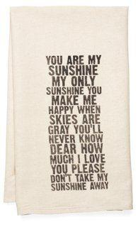"""You Are My Sunshine"" Tea Towel, Black"