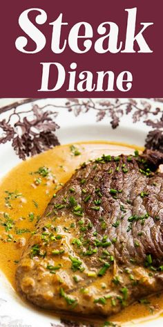 Try this classic recipe for Steak Diane! Diane refers to the pan sauce made with mustard, Worcestershire, cream, and cognac. It's ready in under 30 minutes, making it a great choice for a date night in! Try this classic recipe for Steak Diane! Steak Diane Sauce, Steak Diane Recipe, Recipe For Pork Steak, Mustard Sauce For Steak, Cream Sauce For Steak, Steak Sauce Recipes, Beef Recipes, Cooking Recipes, Minute Steak Recipes