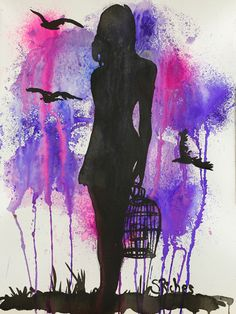 "Saatchi Online Artist: Sara Riches; Ink 2013 Drawing ""She Let Them Free"" #art #purple #birdcage"