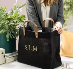 Personalised Black And Leather Jute Shopper by The Forest & Co, the perfect gift for Explore more unique gifts in our curated marketplace. Boutique Accessoires, Fabric Bags, Shopper Bag, Reusable Bags, Handmade Bags, Leather Handle, My Bags, Monogram, Shopping