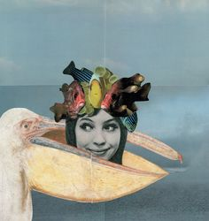 "Sabine Remy : Catch me if you can Collage - 2013 - 46,3 x 44 cm A little ""creature"" for IlluFriday."
