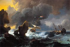 Ships In Distress Off A Rocky Coast Ludolf Bakhuizen