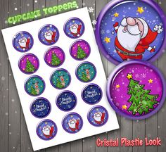 Christmas Cupcake Toppers, Cristal Look, High Quality, Plastic Look, Stickers, Digital Download, Xmas, Christmas Party
