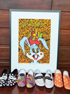 A piece by Ronnie Cutrone, titled Bugsy Miranda, backstops Scott's equally playful shoe collection. Vogue Us, Hollywood Hills, Jeremy Scott, Shoe Collection, 1980s, Lifestyle, House, Art, Ideas