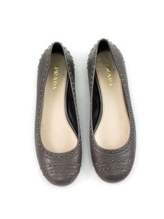 Brand: Prada Size: 39 1/2 (9.5) Description: Prada flats; gray, rounded toe flats with small, silver studs Condition: Visible signs of wear Item Number: 32047-1