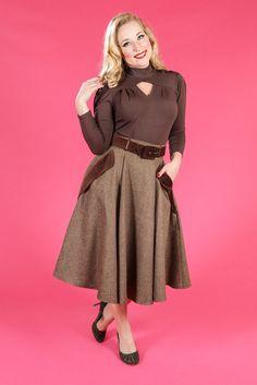 Fifi-Dora - Swing skirt with 2 front velvet pockets from miss candyfloss