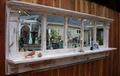Wood Mirror Shelf - Cottage Chic - Large - Shabby Furniture