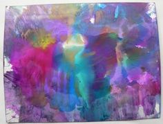 Place glossy card stock, glossy side down in the ink, swipe through the ink. Working quickly, re-swipe the paper through the inks again, changing directions. As the alcohol inks dry quickly, the ink should create layers of colors, not muddying of the colors.