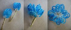 Tricia of Oh So Crafty has posted a tutorial on how to create sweet, simple beaded flowers. I love seeing the beaded petals coming together throughout her Seed Bead Flowers, French Beaded Flowers, Wire Flowers, Seed Beads, Beaded Flowers Patterns, Beading Patterns, Beaded Crafts, Beading Projects, Beaded Embroidery