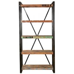 Metal and reclaimed teak wood shelves for either side of the tv console - has fabulous distressed paint details L39*W16*H79. MSRP $2150. Contractor price $1,399