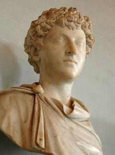 Emperor Marcus Aurelius in adolescence, Roman bust (marble), 2nd century AD, (Palazzo Nuovo, Rome).