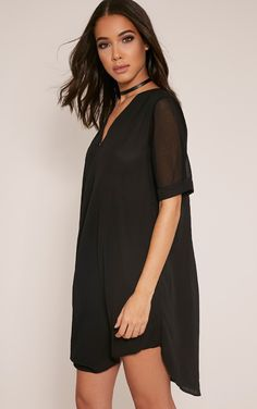 Black Wrap Front Chiffon Dress In luxe slinky fabric and featuring a waist cinching wrap front d...