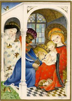 Juan Ferrándiz: La adoración de los Reyes Christmas Scenes, Christmas Nativity, Christmas Past, Xmas, Vintage Christmas Cards, Vintage Cards, Vintage Postcards, Yule, Mother Mary Images