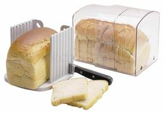 Unique and highly useful expandable bread box, with small air vents to allow just enough air to keep a loaf of bread fresh. Also includes a slicing guide allowing bread to be cut easily, evenly and safely. | eBay!