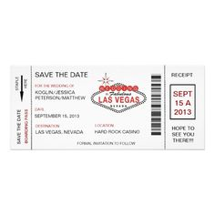 Revised Boarding Pass Save The Date Las Vegas Wedding Invitation
