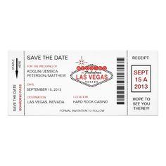 Revised Boarding Pass Save The Date Las Vegas Wedding Invitation